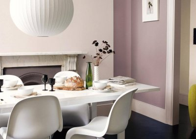 Violet-tinted neutrals lend sophistication