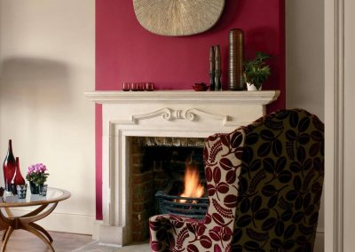 Vibrant redcurrant pink creates intimacy